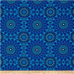 Timeless Treasures Mosaic Plume Large Medallion Blue