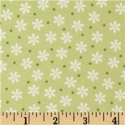 Cozy Cotton Flannel Floral Celery Fabric