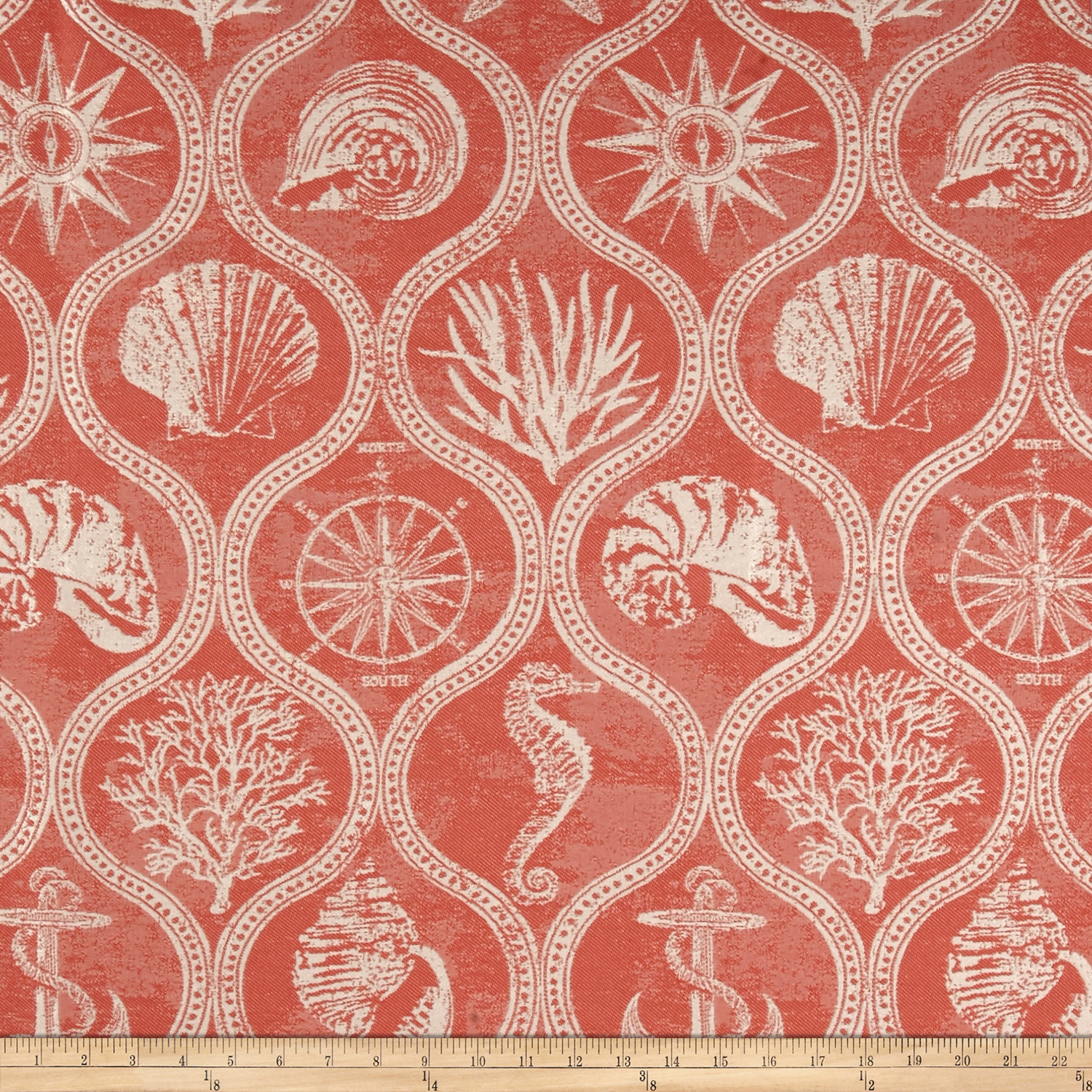 Covington Outdoor Solution Dyed Shoreham Coral Red Fabric