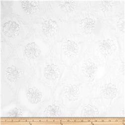 Starlight Metallic Flower Elegant Taffeta White Fabric