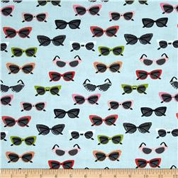 Riley Blake Novelty Glasses Aqua