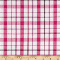 Stretch Poplin Plaid Yarn-Dyed Pink/Silver Lurex