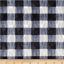 Stretch Lace Checkerboard Black/White Fabric