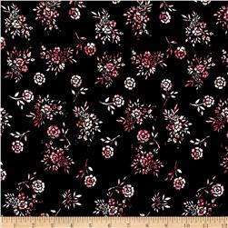Rayon Challis Allover Flowers Black