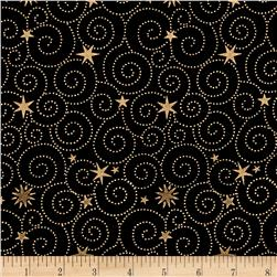 Island Batik Holiday Happenings Metallic Star Swirl Black