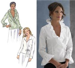 Kwik Sew Ruffled Collar Wrap Blouses Pattern