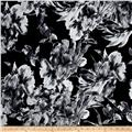 Telio Brazil Stretch ITY Knit Abstract Floral Print Black