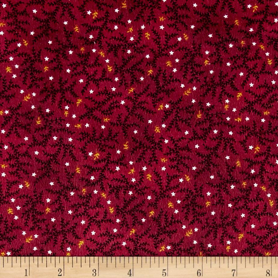 Kim Diehl Winter Cheer Flannel Branches And Stars Red Fabric