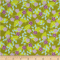 Michael Miller Quiet Time Floating Blossoms Green Fabric