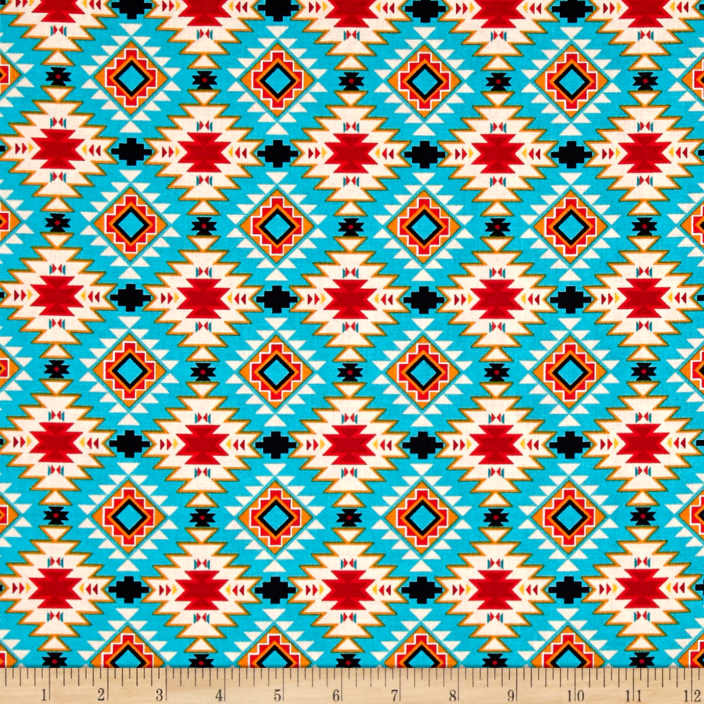The Old Southwest Native Argyle Turquoise/Multi Fabric By The Yard by David in USA
