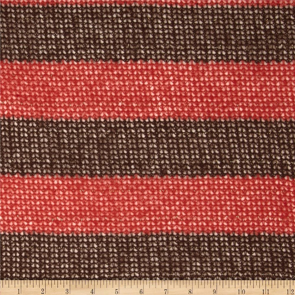 Fuzzy Sweater Knit Stripe Coral/Brown