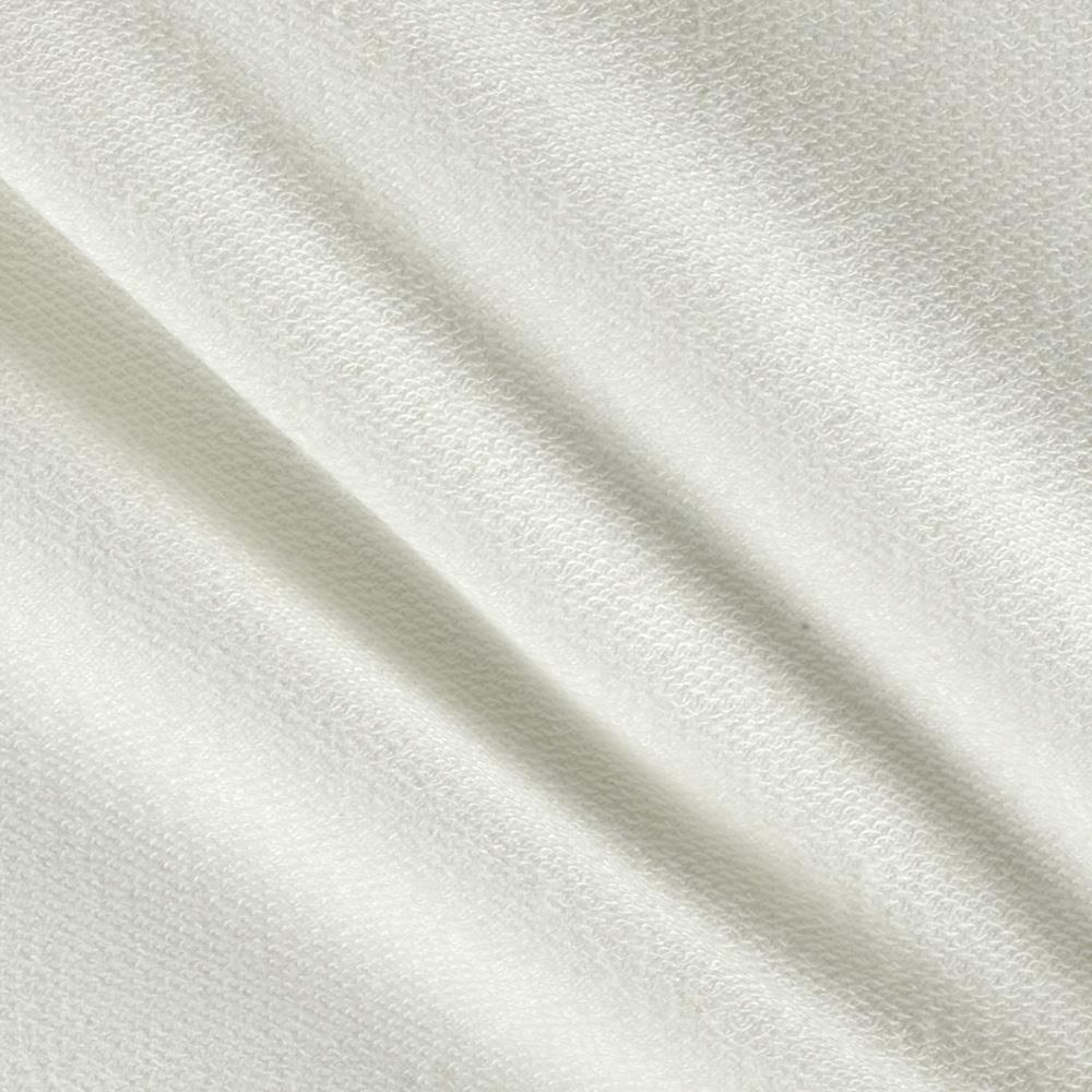 Stretch Cotton French Terry Knit Solid Oyster White