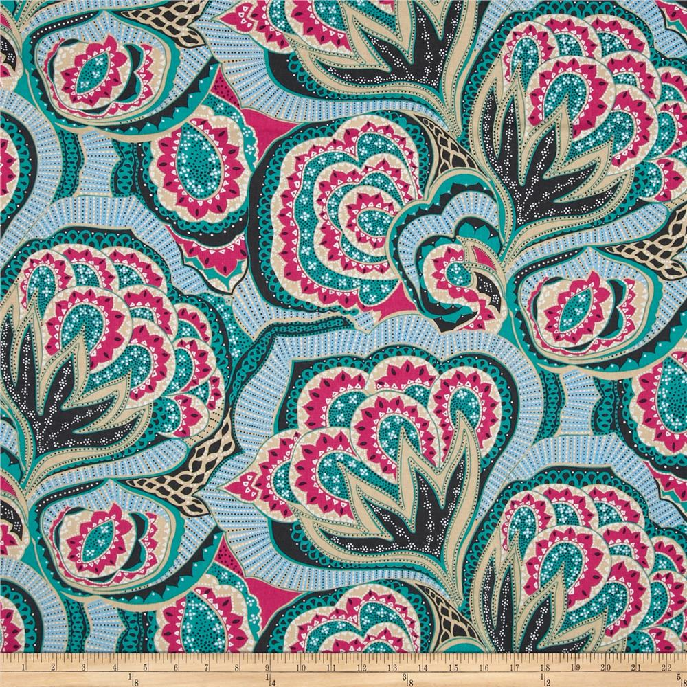 Amy Butler Linen Hapi Oasis Rose Fabric By The Yard