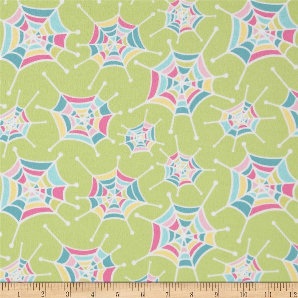 Riley Blake Flannel Snug as a Bug Spider Webs Green