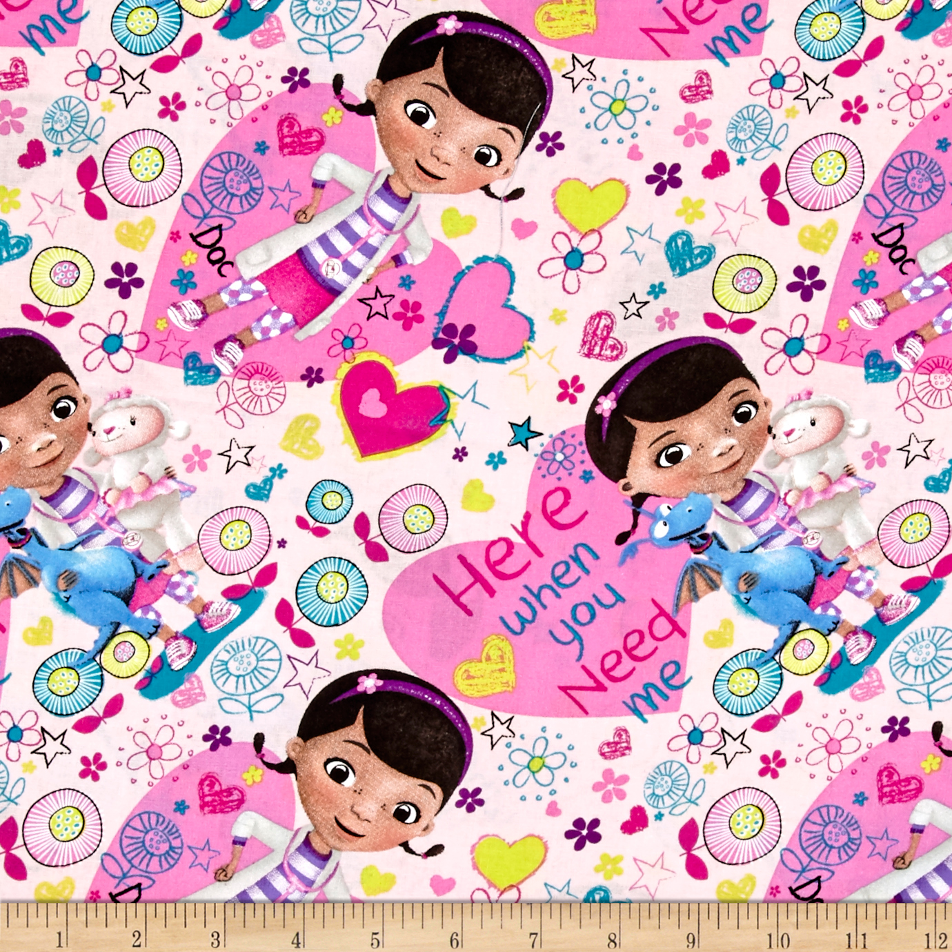 Disney Doc McStuffins Here When You Need Me Pink Fabric by E. E. Schenck in USA