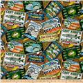 Quilting Treasures So Many Fish, So Little Time Fishing Advertisements Dark Tan