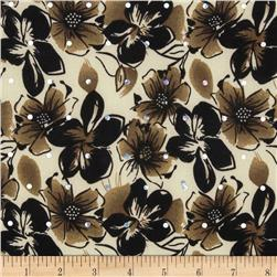 Stretch ITY Sparkle Jersey Knit Floral Brown
