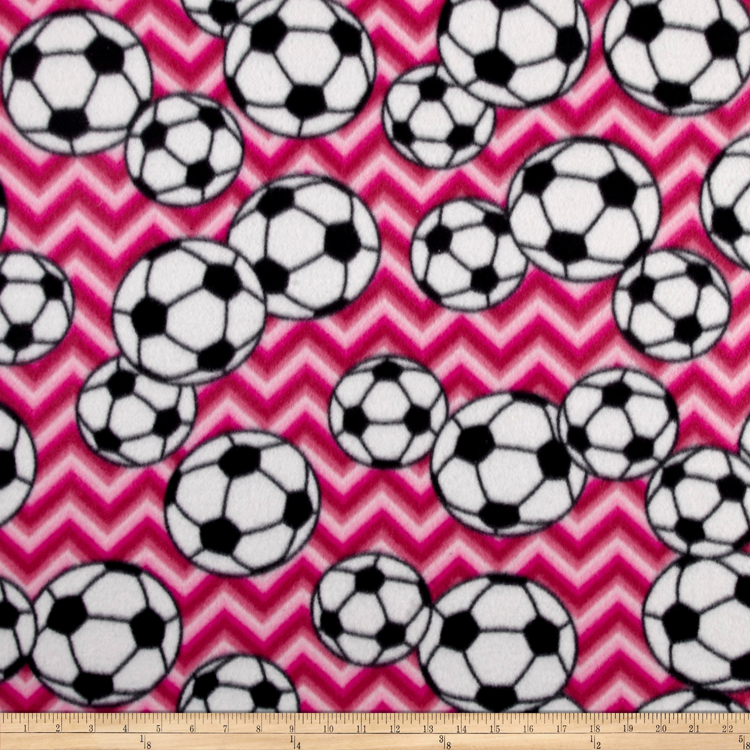 Fleece Chevron Soccer Fuchsia Fabric