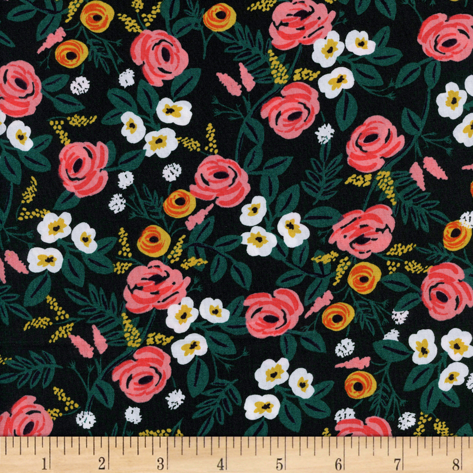 Image of Cotton + Steel Rifle Paper Co. Wonderland Rayon Challis Painted Roses Black Fabric