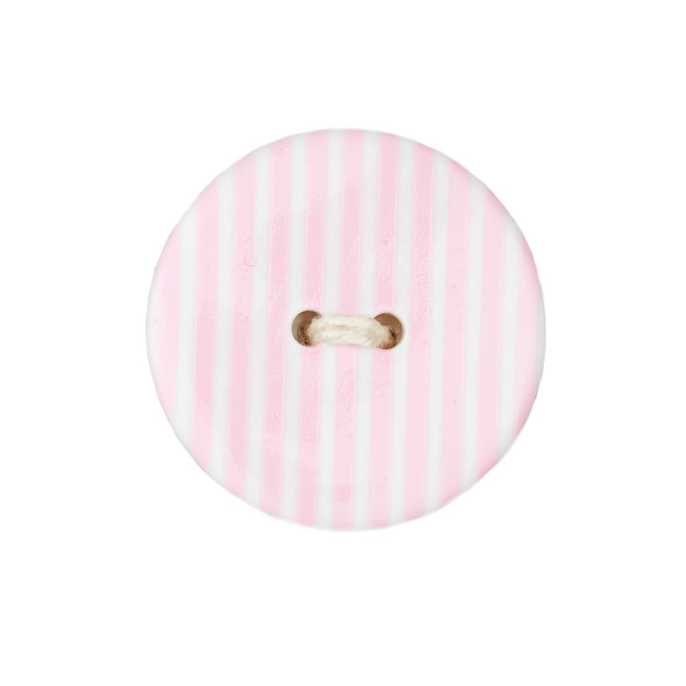Dill Novelty Button 1 3/8'' Stripe Pink/White