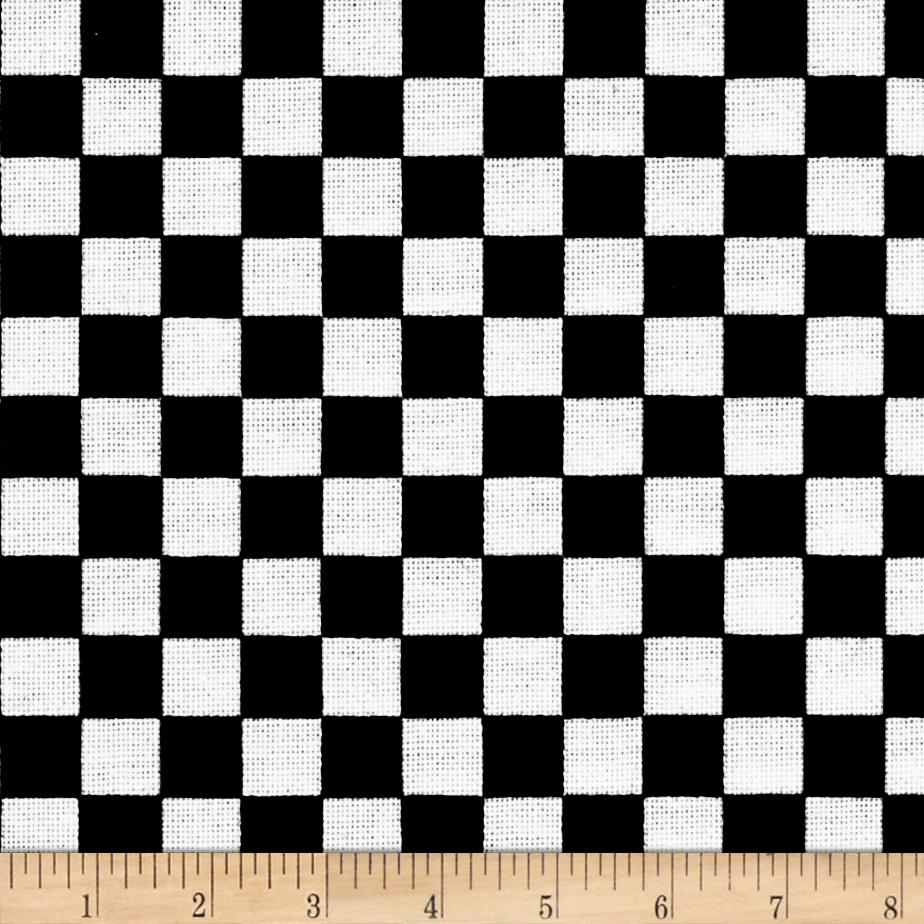 Just Be Claus Simple Check Black & White Fabric By The Yard