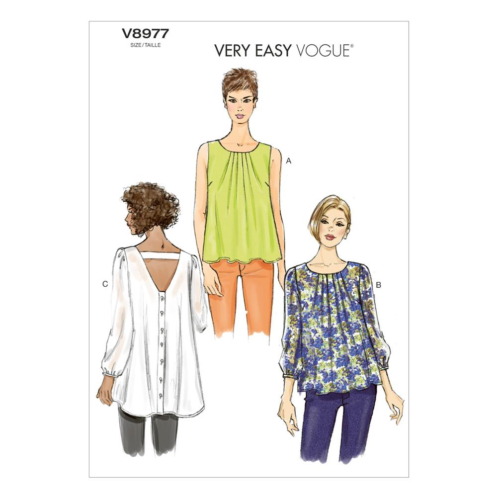 Vogue Misses' Top Pattern V8977 Size 0Y0