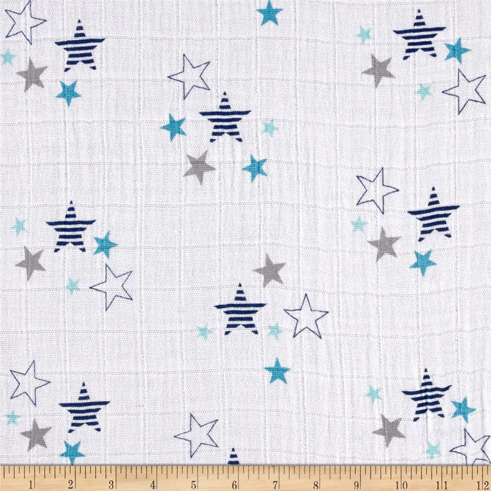 Embrace Double Gauze Stars Blue