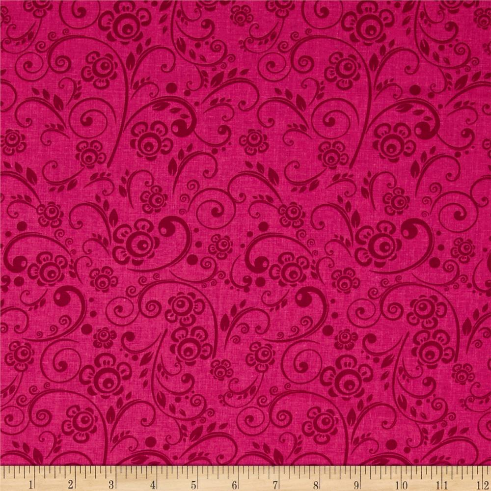 "108"" Wide Quilt Back Floral Swirl Hot Pink"