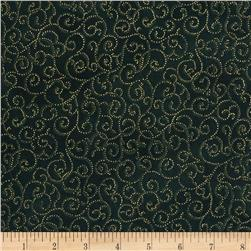 Berries and Blooms Metallic Scroll Evergreen/Gold