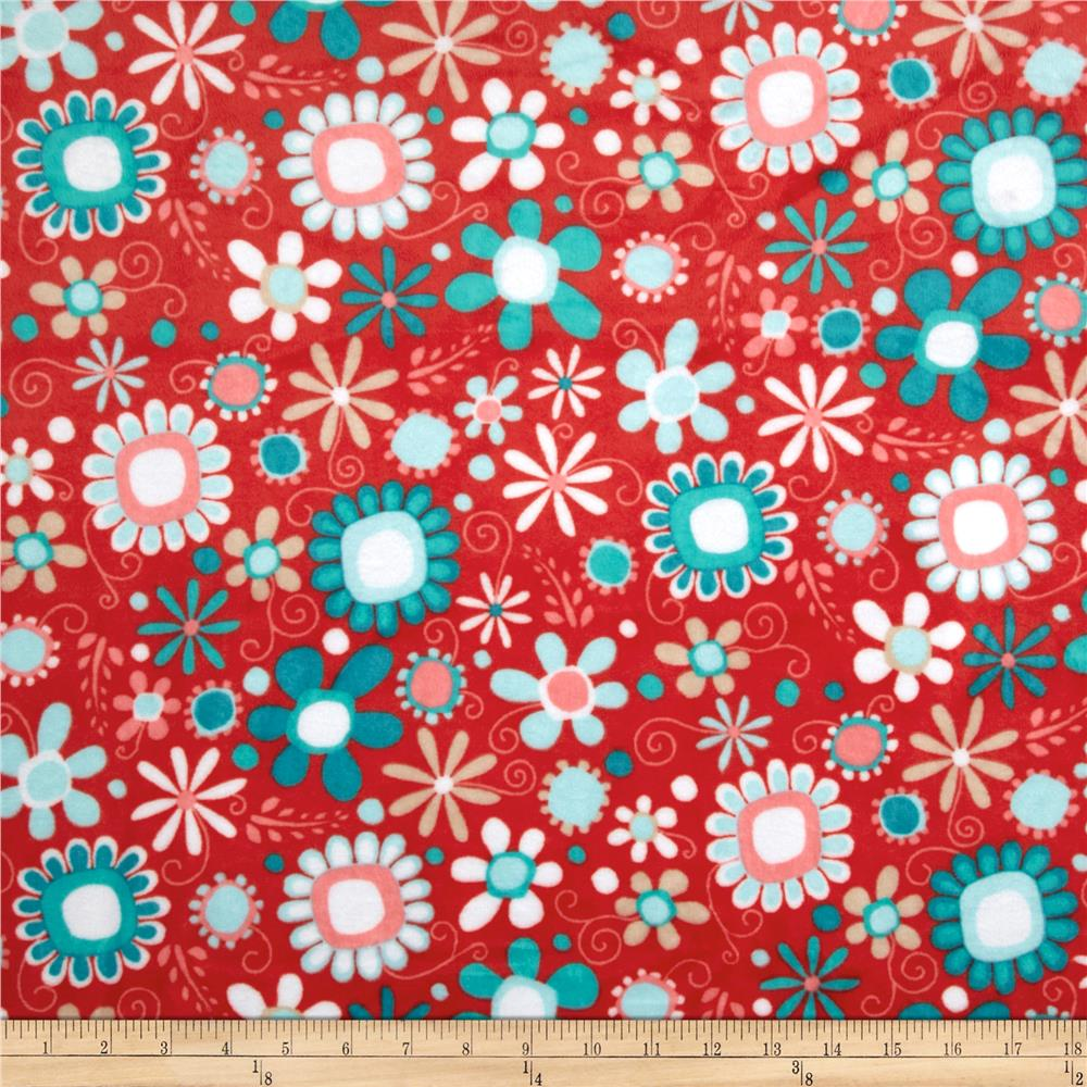 Shannon Adorn-it Minky Cuddle Daisy Bouquet Coral