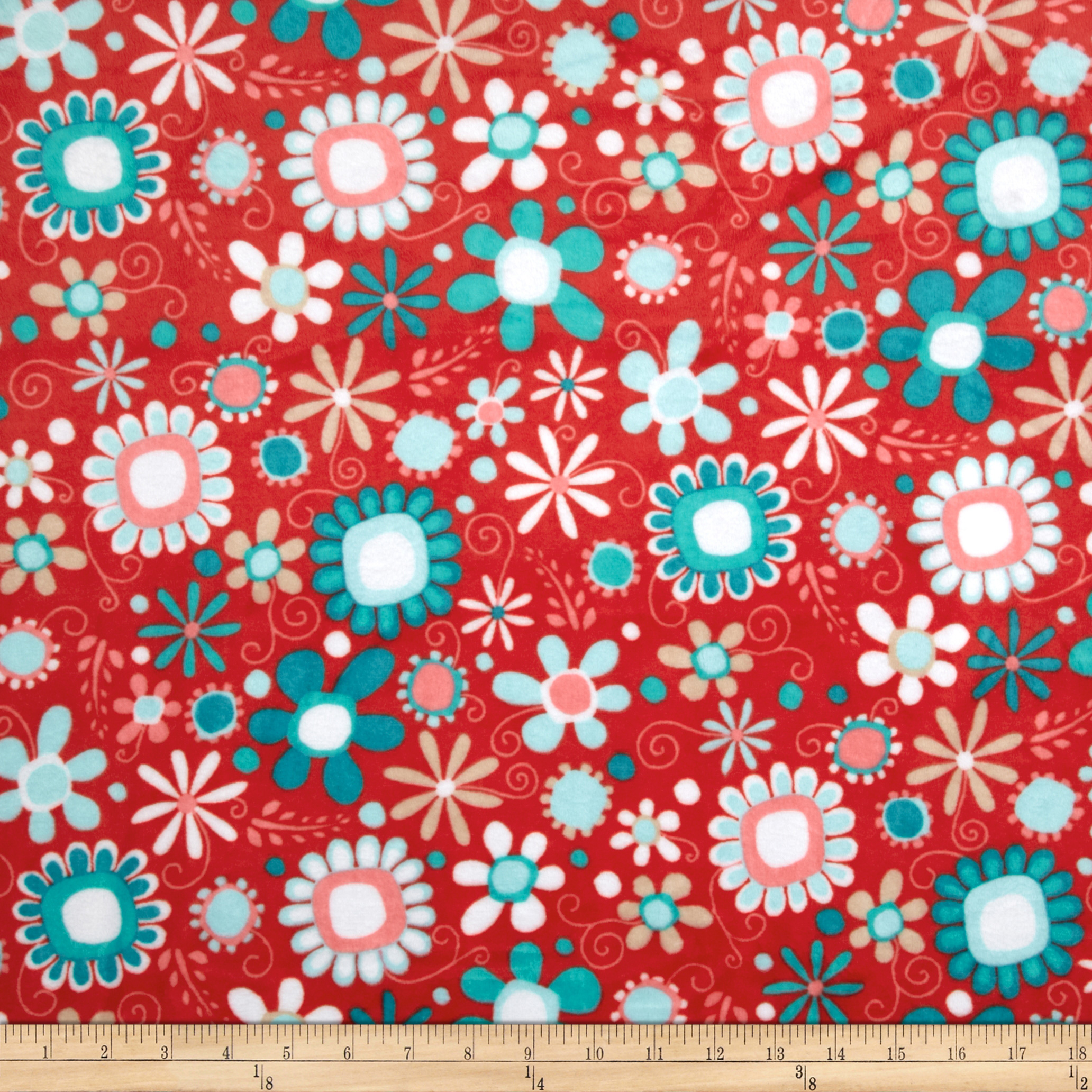 Adorn-it Minky Cuddle Daisy Bouquet Coral Fabric
