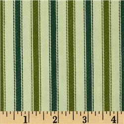 Textile Creations 54'' Yarn Dyed Ticking Stripe Twill Olive