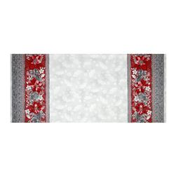 "Kaufman Holiday Flourish Metallic 60"" Wide Double Border Silver"