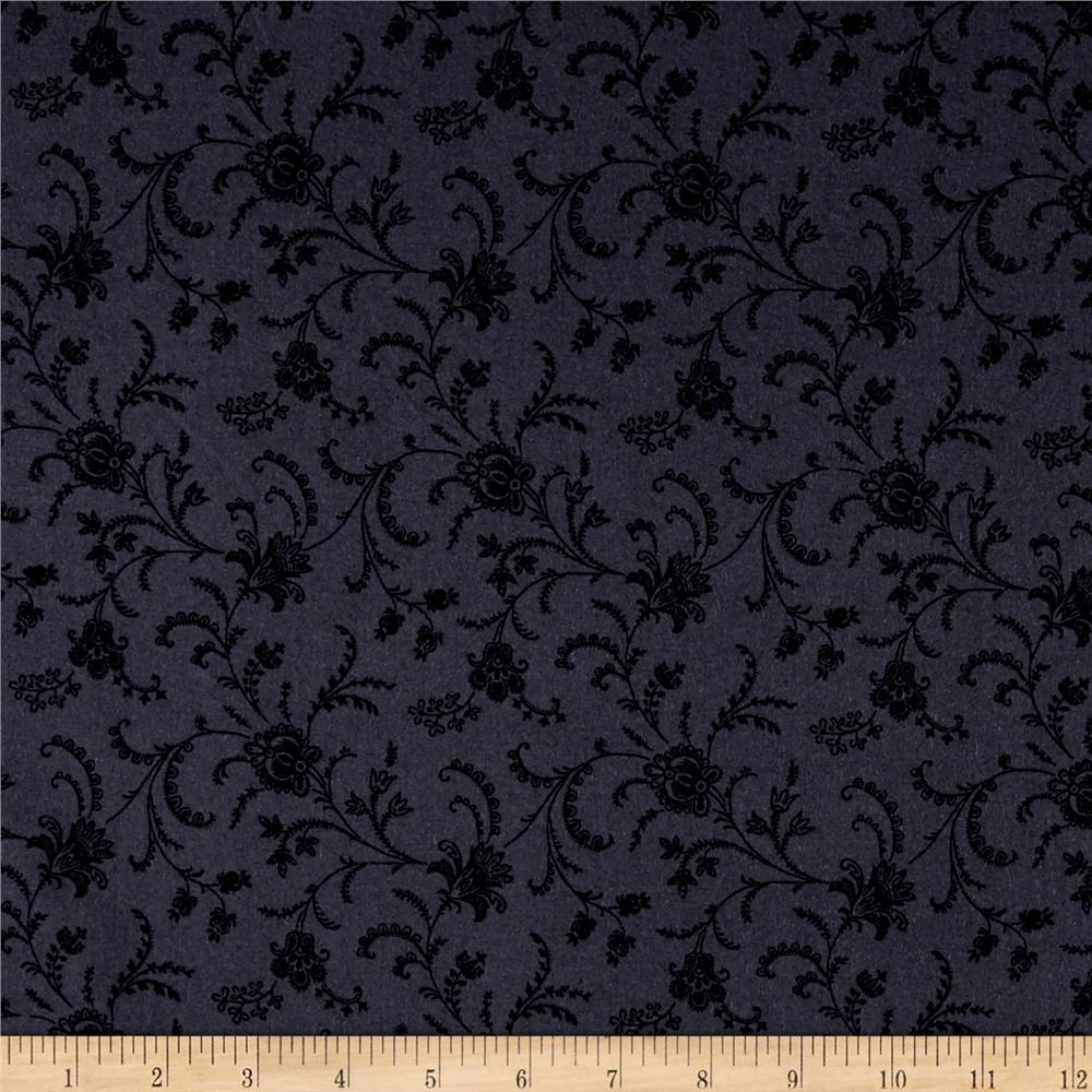 "Timeless Treasures 108"" Wide Backing Viney Floral Charcoal"