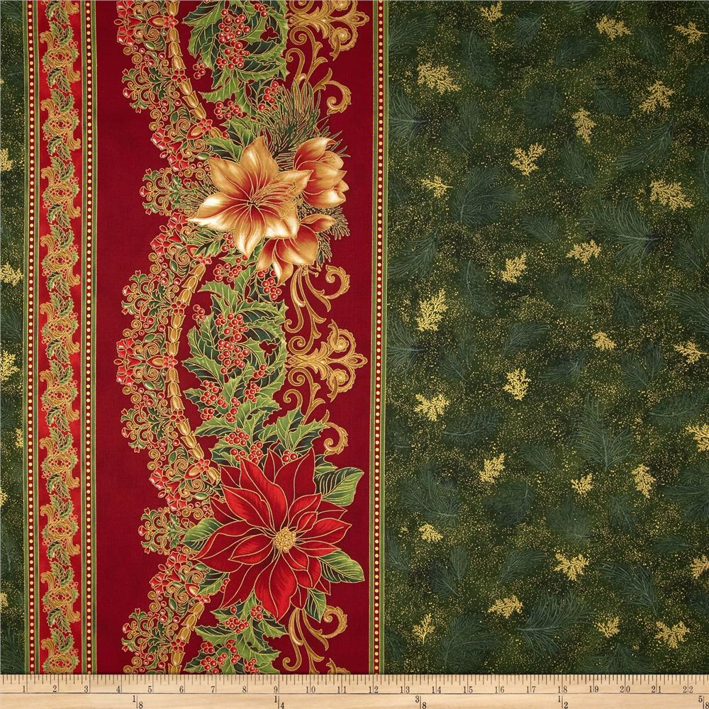Holiday Flourish Metallic 60 Quot Wide Double Border Green