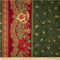 "Holiday Flourish Metallic 60"" Wide Double Border Green"