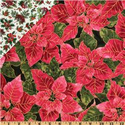 Double Sided Quilted Seasons Greetings Poinsettas Red