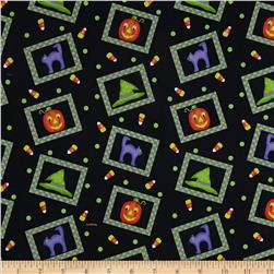 Tricks And Treats Patches Tossed Black