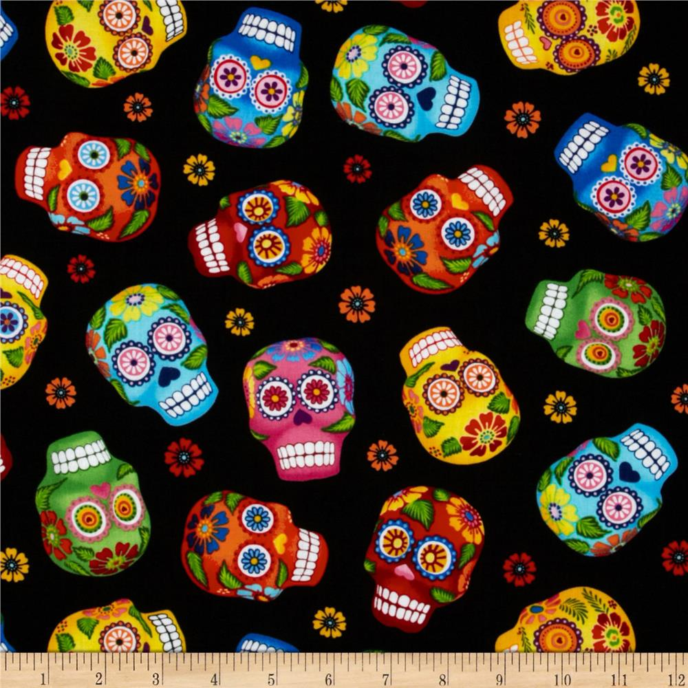 Timeless Treasures Cantina Skulls Black