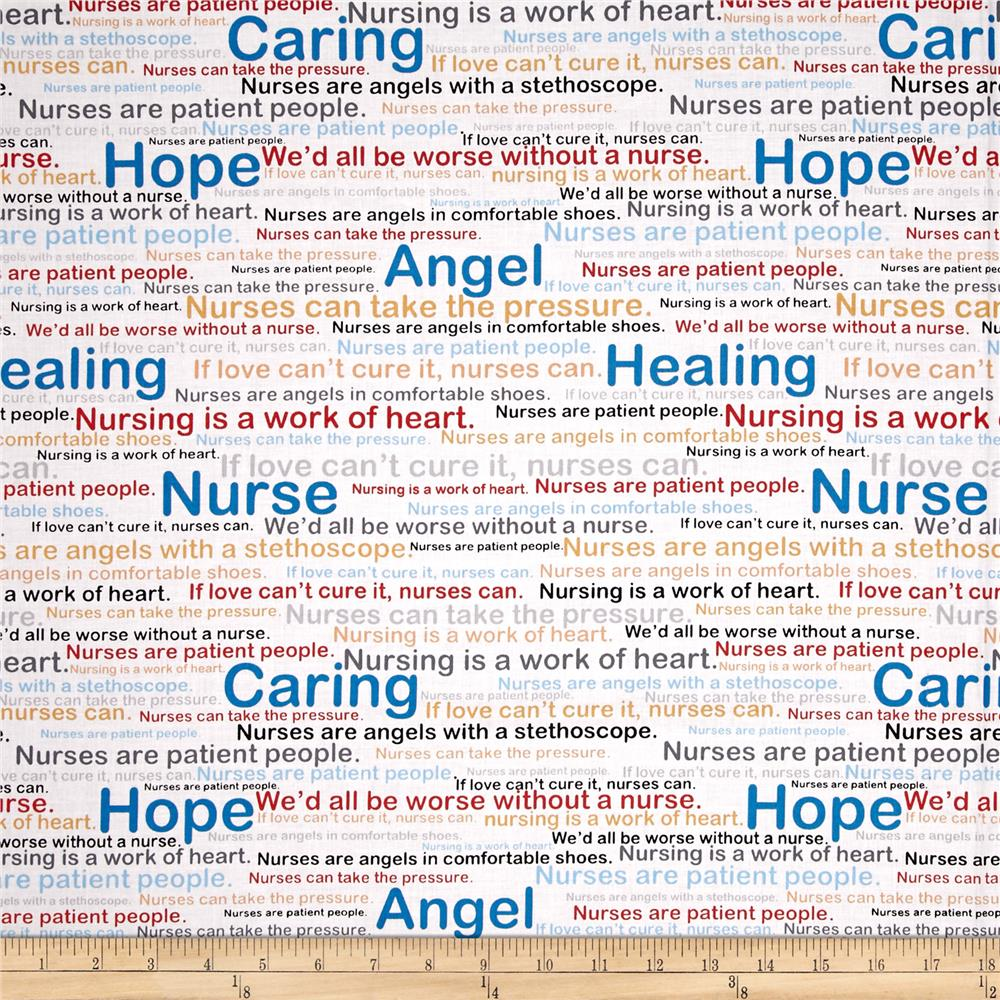 Calling All Nurses Words Fabric