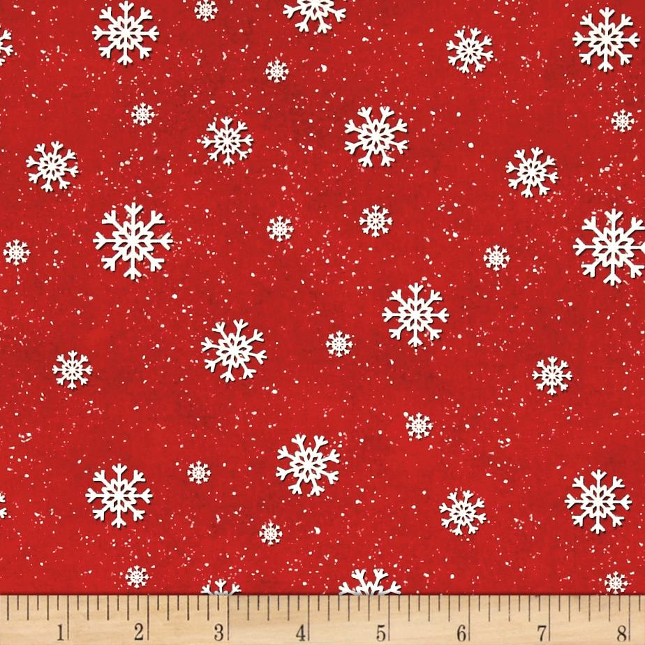 Jolly Ole' St. Nick Snowflake Red Fabric