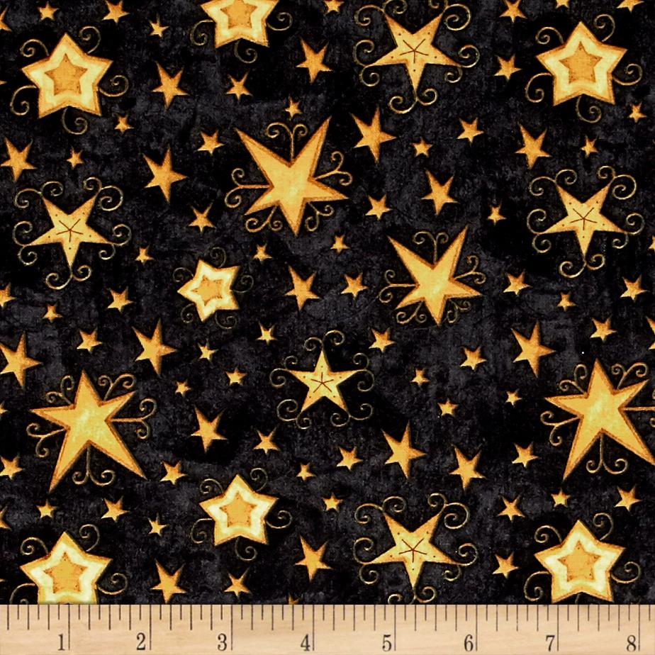 Santa's Big Night Swirl Stars Black