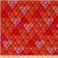 Love Bugs Scrolled Hearts Red
