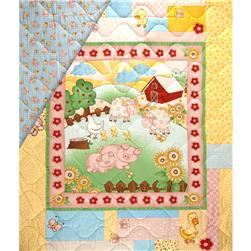 Farm Friends Double Sided Quilted Baby Panel Multi