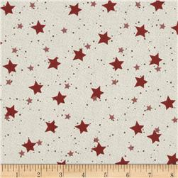 Starry Night Christmas Stars Cream/Red