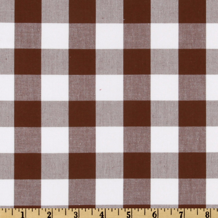 Kaufman 1'' Carolina Gingham Cocoa Fabric