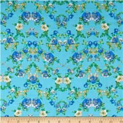 Rayon Challis Small Roses Blue/Light Blue Fabric