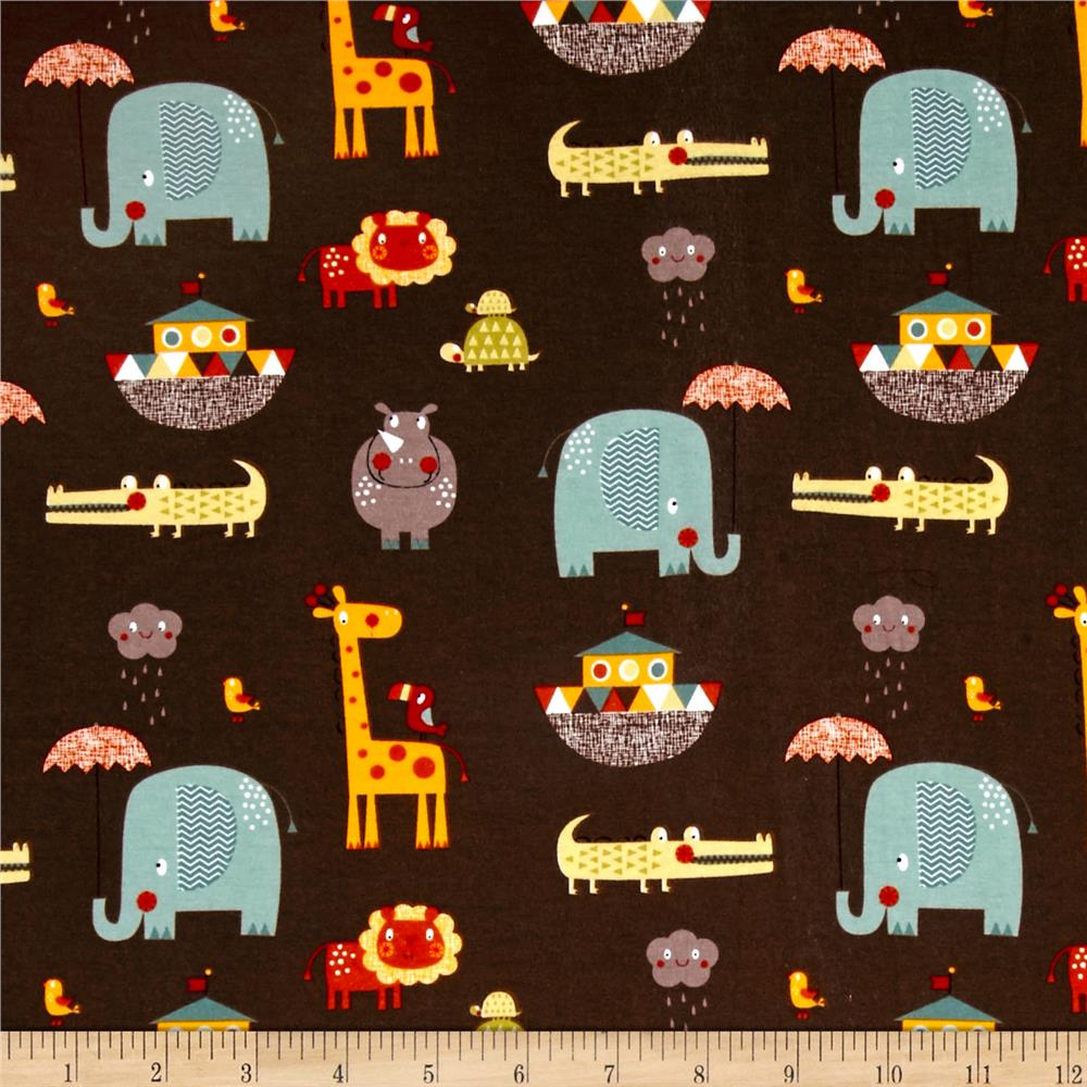 Riley Blake Cotton Jersey Knit Giraffe Crossing 2 Main Brown Fabric