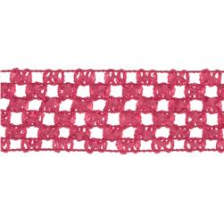1 3/4'' Crochet Headband Trim Hot Pink