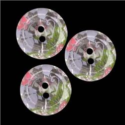 Glass Button 5/8'' Flower Girl Clear/Multi